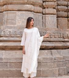 White plain cotton kurta with chunni