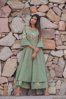 Light-olive printed cotton kurta