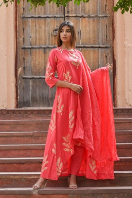 Pink printed cotton kurta sets