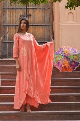 Light-peach printed cotton kurta sets