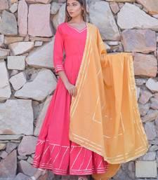 Pink plain cotton kurta with dupatta