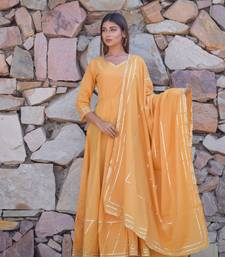 Yellow plain cotton kurta with dupatta