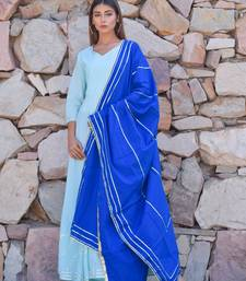 Sky-blue plain cotton kurta with dupatta