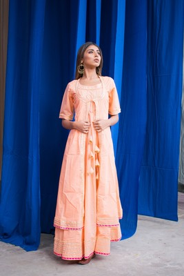 Peach plain cotton kurta