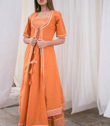 Orange plain cotton kurta sets