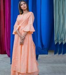 Peach plain cotton kurta