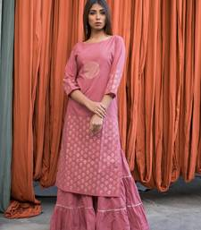 Pink plain cotton kurta