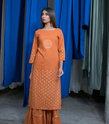 Rust Orange plain cotton kurta