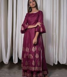 Purple plain cotton kurta