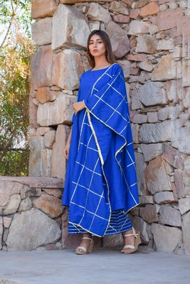 ETHNIC MUKAISH WORK KURTA PLAZZO AND DUPATTA