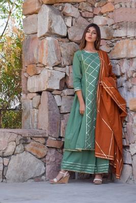 Light-olive plain cotton kurta sets