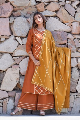 ETHNIC GOTA WORK KURTA PLAZZO AND DUPATTA