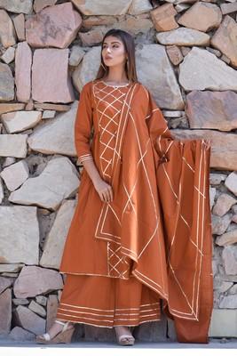 Brown plain cotton kurta sets