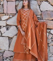Brown plain cotton kurta sets