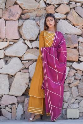 Mustard plain cotton kurta sets