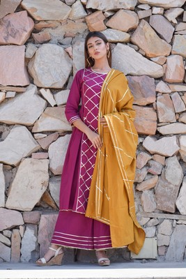 Purple plain cotton kurta sets
