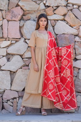 ETHNIC GHER PLEATED KURTA PLAZZO AND DUPATTA