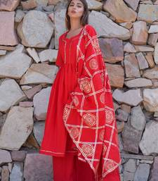 Red plain cotton kurta sets