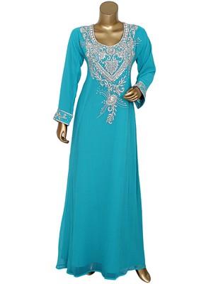Aqua Green Crystal Embellished Traditional Islamic Chiffon Kaftan Abaya Caftan