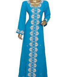 Turquoise Blue Crystal & Beads Embellished Chiffon Kaftan Gown Abaya Caftan