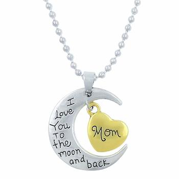 Silver Moon And Gold Heart With Mom Letter And I Love You To The Moon And Back Stainless Steel Pendant With Chain