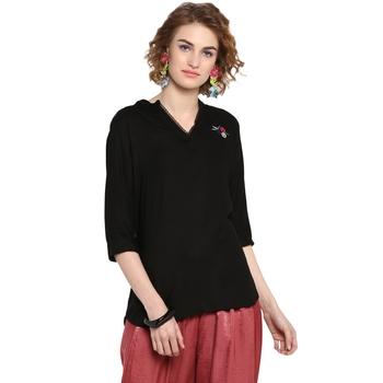 Black plain rayon cotton tops