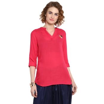 Pink plain rayon cotton tops