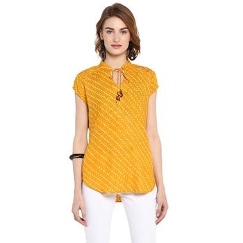 Yellow printed rayon cotton tops