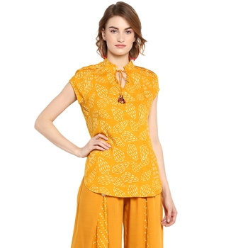 Yellow printed rayon cotton tops
