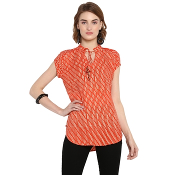 Orange printed rayon cotton tops