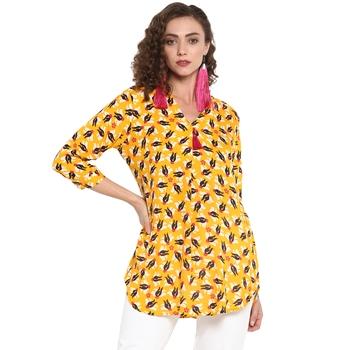 Yellow printed rayon cotton top