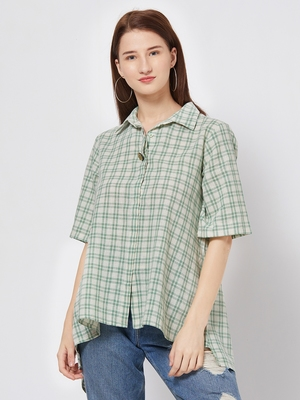 Green printed cotton top