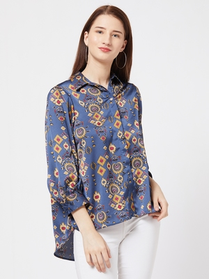 Blue printed satin cotton top