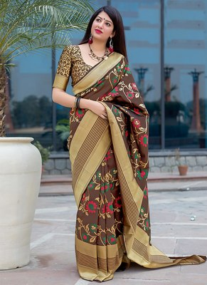 Brown woven banarasi silk blend saree with blouse