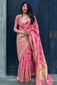 d60d31ac83 Pink woven banarasi silk blend saree with blouse