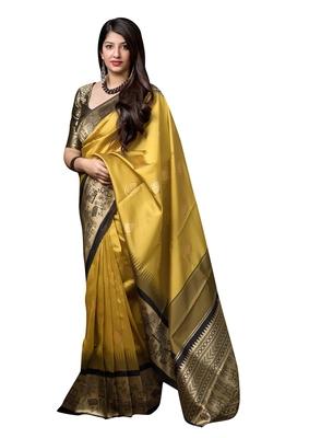 Mustard woven banarasi silk blend saree with blouse