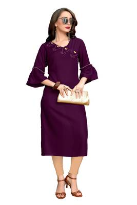 Purple plain rayon ethnic kurtis