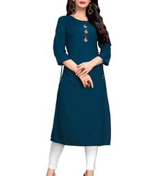 Dark-aqua-blue plain rayon ethnic kurtis