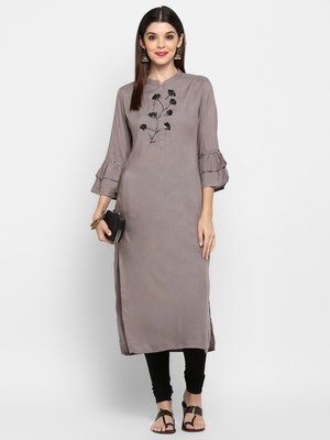 Light-grey plain rayon ethnic kurtis