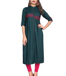 Dark-green plain rayon ethnic kurtis