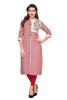 Red printed cotton kurtis