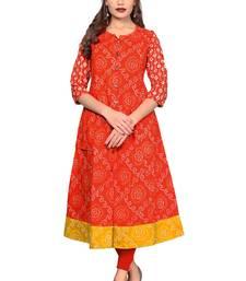 Orange printed  cotton kurtis