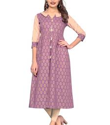 Light-purple printed cotton kurtis