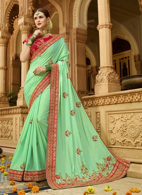 ec4e0a7e7ac2f Light green embroidered silk blend saree with blouse - Lilots - 2840138
