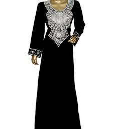 Grey Embroidered Crystal Embellished Arabian Traditional Chiffon Kaftan / Gown