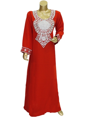 Red Embroidered Crystal Embellished Arabian Traditional Chiffon Kaftan / Gown