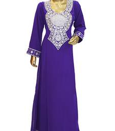 Purple Embroidered Crystal Embellished Arabian Traditional Chiffon Kaftan / Gown