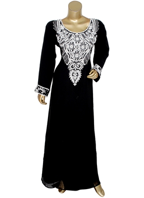 Black Embroidered Crystal Beads Embellished Islamic Caftan Gown Kaftan Maxi