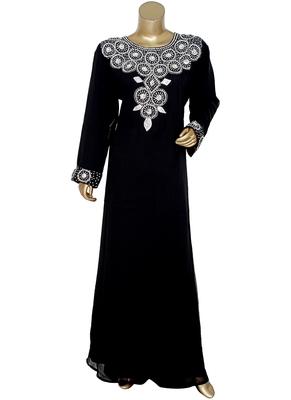Black Crystal Embellished Islamic Traditional Kaftan Gown Caftan Maxi