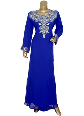 Royal Blue Crystal Embellished Islamic Traditional Kaftan Gown Caftan Maxi